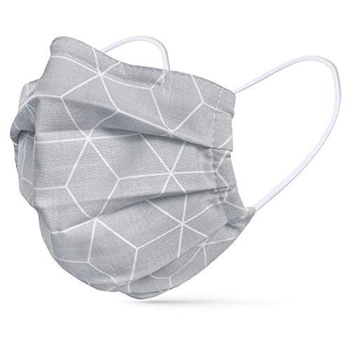 tanzmuster ® Gesichtsmaske für Kinder - Stoffmaske mit Nasenbügel und Filtertasche - Alltagsmaske waschbar - 100% Baumwolle OEKO-TEX Standard 100. Hauchdünn Rauten grau S
