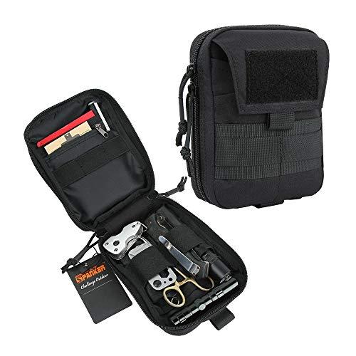 EXCELLENT ELITE SPANKER Molle Admin Pouch Military Utility Tool Pouch EDC Molle Pouchs Gadget Waist Bags (Black)