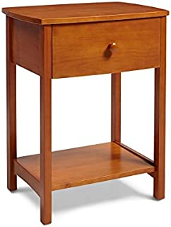 Mantua Shaker Wood Nightstand, Traditional and Classic Solid Wood Nightstand for Bedside Essentials in Golden Oak Finish, Model NSRO