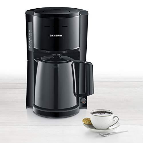 SEVERIN KA 9250 Filterkaffeemaschine mit Thermokanne, ca. 1.000 W, bis 8 Tassen, Schwenkfilter 1 x 4 mit Tropfverschluss, automatische Abschaltung, Durchbrühdeckel