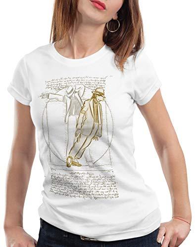 CottonCloud Vitruvianischer Pop King Damen T-Shirt da Vinci Michael Moonwalk, Farbe:Weiß, Größe:S
