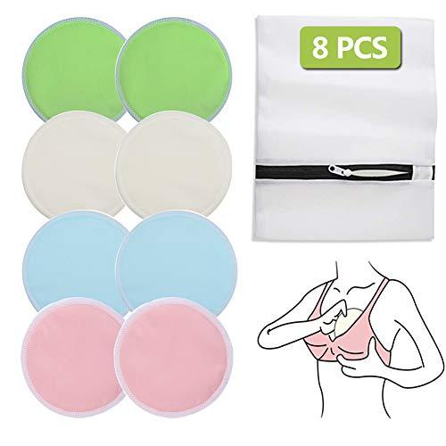 8Pcs Almohadillas de Lactancia Reutilizable, Cojines de Enfermería Bambú Orgánicos Lavable, 12cm Súper Suaves y Absorbentes Hipoalergénico Discos de Lactancia, Ronda Cojines de Bra a Prueba de Fugas