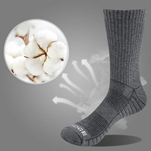 YUEDGE Men's 3 Pairs Wicking Breathable Cushion Anti Blister Casual Crew Socks Outdoor Multi Performance Hiking Trekking Walking Athletic Socks (White/Grey/Black, Men Shoe 6-9 UK Size)