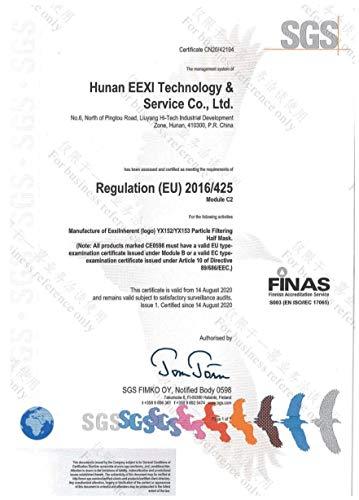 20x einzeln verpackte FFP2 Mundschutz, CE Zertifiziert und DEKRA geprüft nach EN149: 2001 + A1: 2009, Faltbare Halbmasken mit Nasenbügel und weichen elastischen Ohrschlaufen - 5