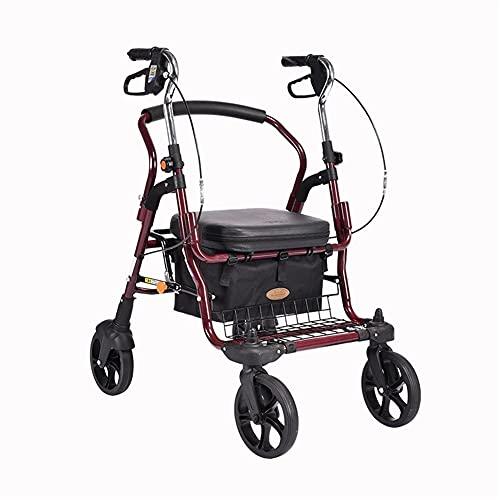 FEANG Carro de la compra plegable carro de la compra con asiento 4 ruedas carro de escalada escalera, scooter para compras, picnic, hogar almacenamiento carrito de la compra