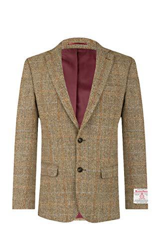Dobell Harris Tweed Herren Jackett Braun Großes Karo-50