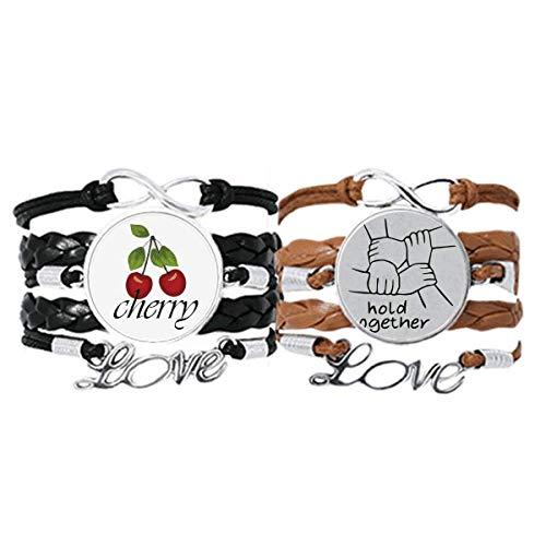 Bestchong Hold Together - Pulsera de gesto personalizada, correa de mano, cuerda de cuero, pulsera de amor de cereza, juego doble