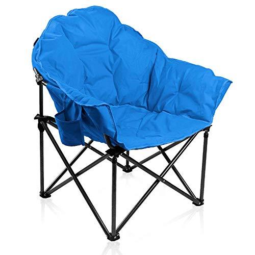 ALPHA CAMP Gepolsterter Faltbarer Campingstuhl, Klappstuhl Rund Moon Chair mit Becherhalter, Campingsessel mit Tragetasche, Ideal für Outdoor Indoor Balkon Wohnzimmer Büro, bis 160kg, Hellblau