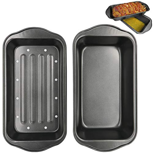 Evelots Meatloaf Pan-Drains Fat-Non Stick-Cooking/Baking-More Flavor-2 Piece Set