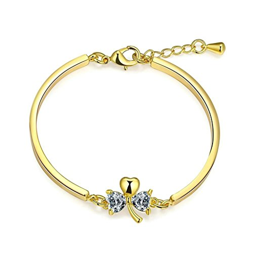 Bishilin Kupfer Gold Kristall Link Herz Form Armbund Für Damen auf Hochzeit Einstellbar Länge