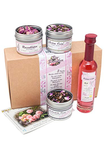 direct&friendly Rosensinfonie Bio Geschenkset mit Rosenblüten, Tee und Rosenlikör - Geschenke für Frauen