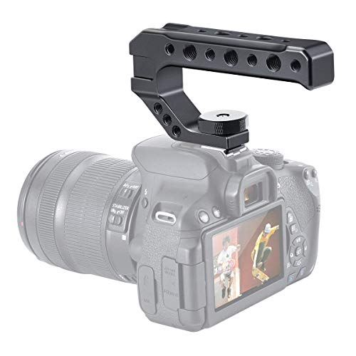 """Camera Handle Grip with 3 Cold Shoe 1/4"""" 3/8"""" Threaded Holes for LED Light,Microphone,Monitor for Canon Nikon Olympus Pentax DSLR Cameras"""