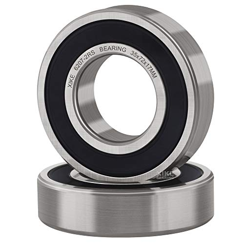 XiKe 2 Pcs 6207-2RS Double Rubber Seal Bearings 35x72x17mm, Pre-Lubricated and Stable Performance and Cost Effective, Deep Groove Ball Bearings.