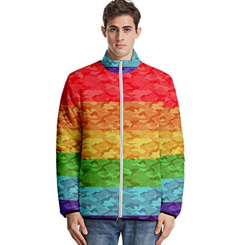 URVIP Unisex 3D Printed LGBT Rainbow Bisexual Pride Color Style Down Jacket Multi-18 4XL