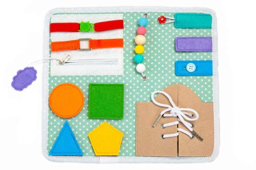 MonteToy Toddler Busy Board  12 Sensory Activities Board for Fine Motor Skills – Montessori Basic Skills Educational Learn to Dress Latches Toy Soft Foldable Travel Board for Home Car or Airplane
