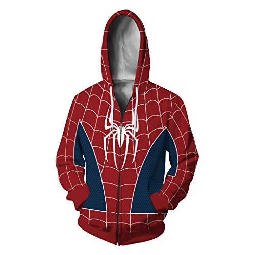 Plustrong Unisex 3D Print Zip Up Hoodie Pullover Hooded Sweashirt Jacket with Pockets (Spider Man 003, XL)