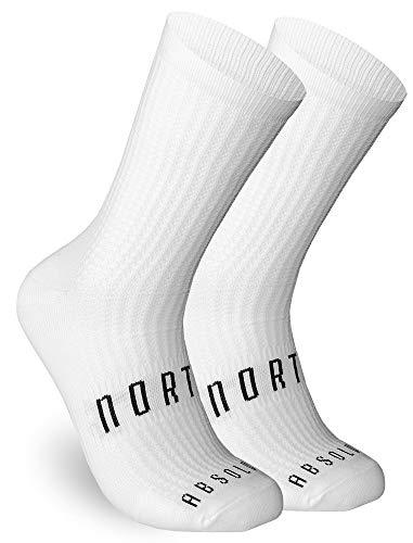 NORTEI Calcetines Blancos para Ciclismo, MTB y Running de Caña Alta para Hombre y Mujer – Absolute White (S-M (38-42))