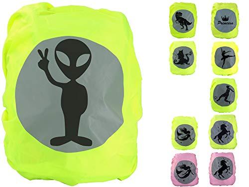 EANAGO Premium Schulranzen/Rucksack Regenschutz/Regenüberzug, ohne Nähte, 100{2104ae57ed279a572bedfb9399e64af374517f5649b7ddfd757126cd93038918} wasserdicht, mit Sicherheits-Reflektionsbild Alien
