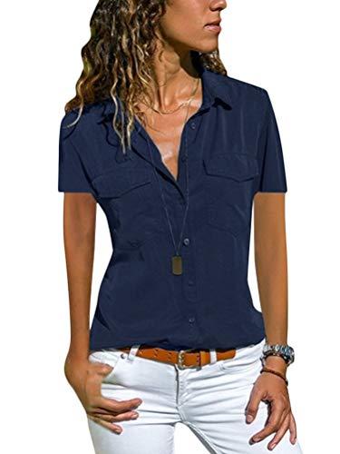 Minetom Bluse Damen Hemd Oberteile V-Ausschnitt Casual Kurzarm T-Shirt Top Tunika Elegant Business Hemd Sommer Revers Kragen Ärmellose Tank Top Weste B Marine 40