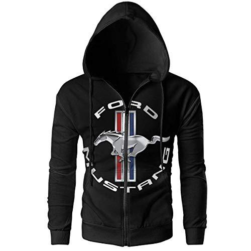 BAOQIN Herren Hoodies Mustang Gt Logo (3) Pullover Sweatshirts mit KapuzeSchwarze Jacken