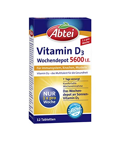 Abtei Vitamin D3 Forte Wochendepot, 1er Pack (1 x 12 Tabletten)