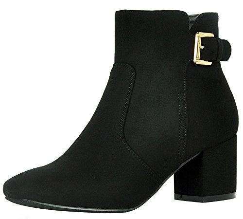 Refresh Footwear Women's Buckle Accent Block Heel Ankle Bootie (7, Black)