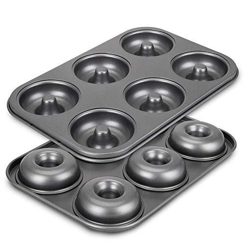 Donut Pan for Baking, Non-Stick 6-Cavity Donut Pans, ENLOY BPA Free Carbon Steel Cake Baking Pan, Dishwasher Safe, Set of 2