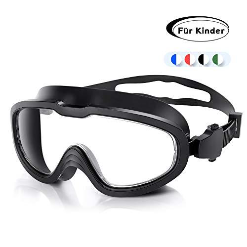 QcoQce Unisex Schwimmbrille,Schwimmbrillen Linse Verstellbar Gurt mit UV-Schutz und Anti Nebel,Taucherbrille für Erwachsen und Kinder Einschließen Ohrstöpsel und Nasenklammern (schwarz Kinder)