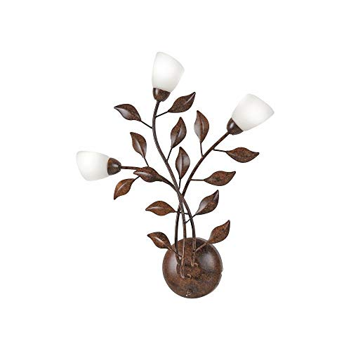 Landhaus-Leuchte, rustikale Astleuchte mit Blättern Ranken, Fassung G9 LED fähig, Rost-Optik...