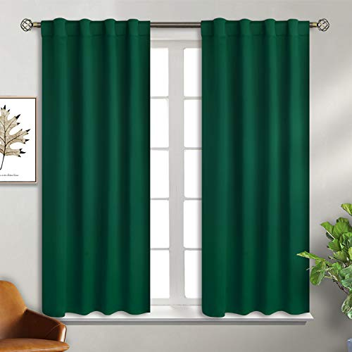 BGment Rod Pocket and Back Tab Blackout Curtains for Bedroom - Thermal Insulated Room Darkening Curtains for Living Room , 2 Window Curtain Panels ( 38 x 54 Inch, Emerald)