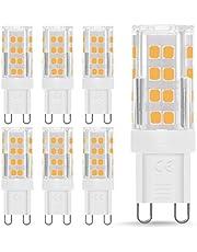 Fulighture Ampoules LED G9, 5 W équivalent à 40 W Culot halogène 400 lm, Blanc Chaud 3000K, Angle de rotation à 360 °, Not Dimmable, pour Ceiling Lighting,Kitchen,6 Pack