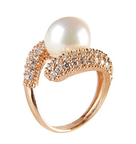 5JOYAS Anillo Diseño Único En Oro Rosa 18 KT con 44 Diamantes y Perla Natural 8mm .(Talla 7 a 27)