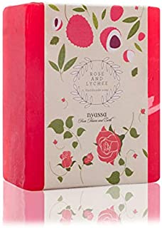 Nyassa Rose and Lychee Handmade Soap 150 gm from India with Rose petal extract and Lychee extract. Deeply nourishing. No Paraben, Against Animal Testing and Vegetarian