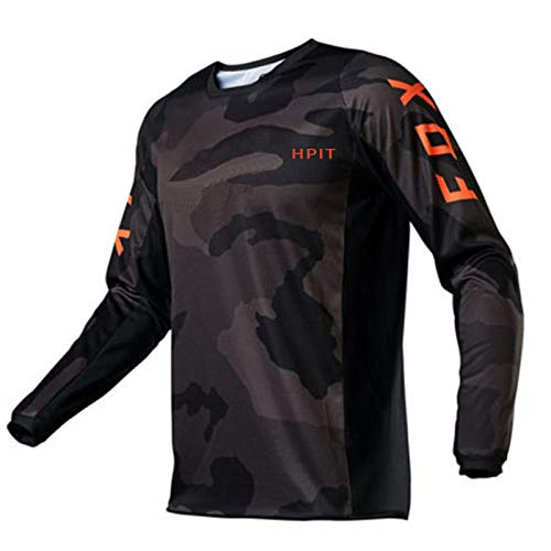 PYMNDZ Men'S Downhill Jerseys Hpit Fox Mountain Bike Mtb Shirts Offroad Motorcycle Jersey Motocross Sportwear Clothing Bike-L
