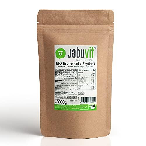 JabuVit- BIO Erythritol-Erythrit, BIO zertifiziertes Erythritol Pulver, für eine köstliche & kalorienarme Ernährung, 100g Erythrit besitzt 0Kcal, umweltschonende Verpackung, Made in Germany-1000g