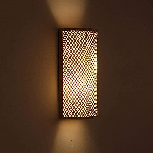Lámpara de pared de túnel de sombra de ratán de mimbre de...