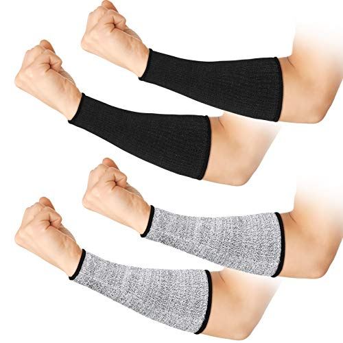 2 Pairs Cut Resistant Sleeve Arm Protection Sleeves, Level 5 Protection Safety Protective Sleeves Prevent Scrapes Scratches Skin Irritations Biting Proof Sleeves for Men Women (22 cm)