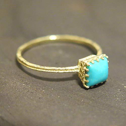 yz12 Mini Turquoise Daisy Ring Zirconia Flower Ring Floral Solid Gold Ring 14k Solid Gold Daisy Ring
