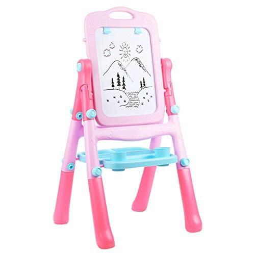 Puzzelgift Magnetische tekentafel voor kinderen Schildersezel Dubbelzijdig Magnetisch schrijfbord Speelgoed Babykleur Graffiti Beugel Roze Blauw (Kleur: Roze, Maat: 44 * 36CM)