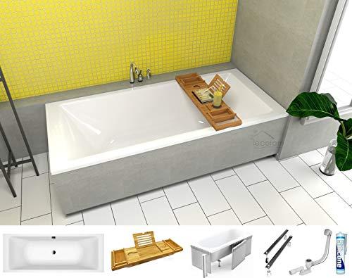 ECOLAM große Badewanne Wanne Borneo Rechteck Acryl weiß 200x90 cm + Bambus Ablage + Styroporverkleidung zum Verfliesen + Ablaufgarnitur Ab- und Überlauf Automatik Füße Silikon