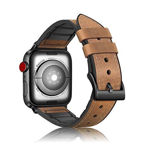 Fintie Armband kompatibel mit Apple Watch 44mm 42mm Series 5 4 3 2 1 - Uhrarmband aus Leder & TPU Ersatzband Vintage mit Edelstahlschnalle, Braun