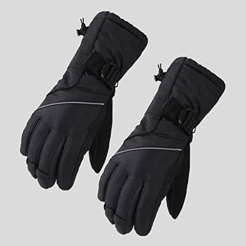 HSKB Skihandschoenen, touchscreen-handschoenen, waterdicht, winddicht, antislip, ademend, warme wintersporthandschoenen voor skiën snowboarden, wandelen, voor heren en dames, zwart (zwart) - JJ-123