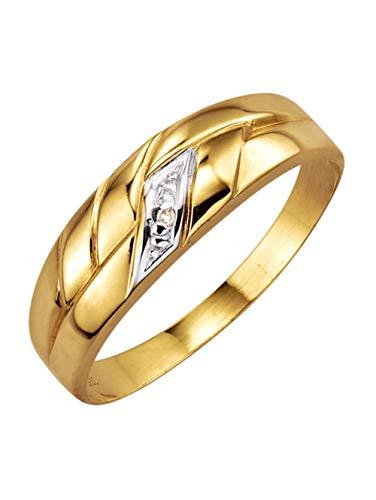 KLiNGEL Damen 333 Gelbgold Ring in Weiß mit Diamant