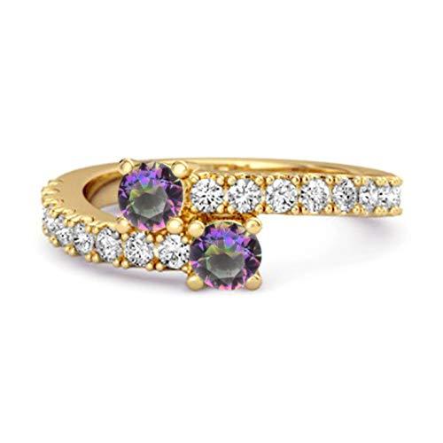 Shine Jewel Multi Elija su Piedra Preciosa 0.04 CTS Anillo único de vástago Dividido Chapado en Oro Amarillo de Plata de Ley 925 (12, topacio místico)