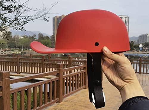 SDKUing Casco de motocicleta retro de media concha vintage de cara abierta para hombres y mujeres, aprobado por DOT/ECE, estilo gorra de béisbol para Cruiser Chopper ciclomotor ATV cascos, rojo
