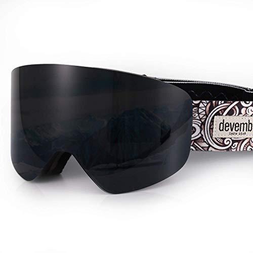 devembr Skibrille für Brillenträger Herren & Damen, Magnetische Austauschbare Snowboardbrille, Anti Fog, UV-Schutz, Helmkompatible, Schneebrille für Skifahren Snowboard (Schwarz, VLT 6%)