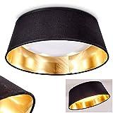 LED Deckenleuchte Negio, runde Deckenlampe mit Lampenschirm aus Stoff, Schwarz/Gold, Ø 34 cm, 1 x max. 14 Watt, 1250 Lumen, Lichtfarbe 3000 Kelvin (warmweiß)