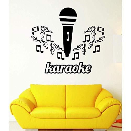 Muursticker karaoke muziek microfoon voor zang sticker vinyl 57 x 64 cm