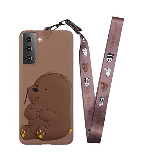 SEEYA - Funda tipo cartera de silicona para Samsung Galaxy S21 FE, diseño de oso marrón, diseño de monedero con monedero y correa de hombro larga para Galaxy S21 FE