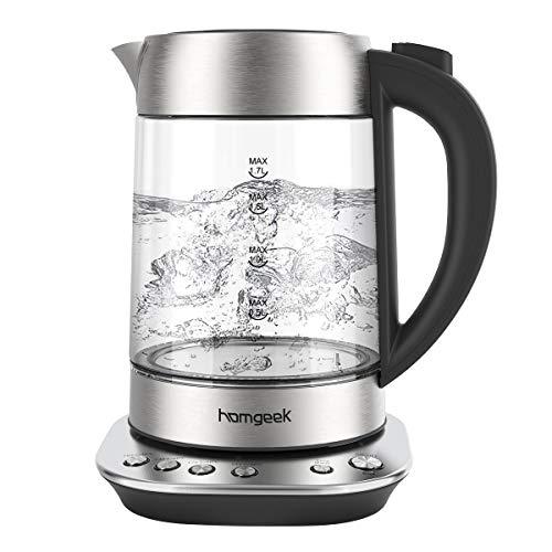 Wasserkocher, Homgeek Wasserkocher Glas Elektrisch 2200W, mit LED-Beleuchtung, Auto-off & Trockenlaufschutz, Edelstahl Innendeckel, BPA-frei (1.6 L)